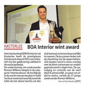 persbericht kasterlee boa interior wint award