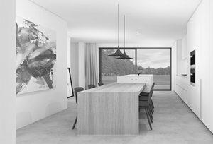 toekomstige concepten van realistische 3D tekening van een keuken getekend door studio leeman