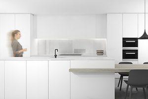 realistische 3d tekening van een witte keuken in fineer getekend door studio leeman