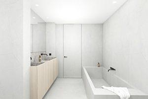 realistische 3d tekening van een badkamer met houten wastafel en royaal ligbad getekend door studio leeman