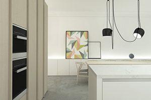 realistische 3d tekening van een keuken met ingebouwd keukenapparatuur getekend door studio leeman