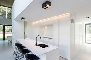 interieur totaalproject met een vrijstaand keukenblok en zwart glansende kraan