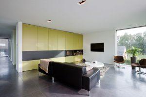 design stoelen tussen een prachtige plant en ingebouwde televisie in de muur