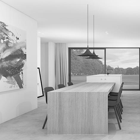 Afbeelding van Studio Leeman van een zwart wit keuken ontwerp