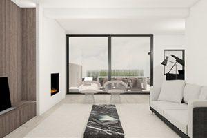 realistische 3d tekening van een woonkamer getekend door studio leeman