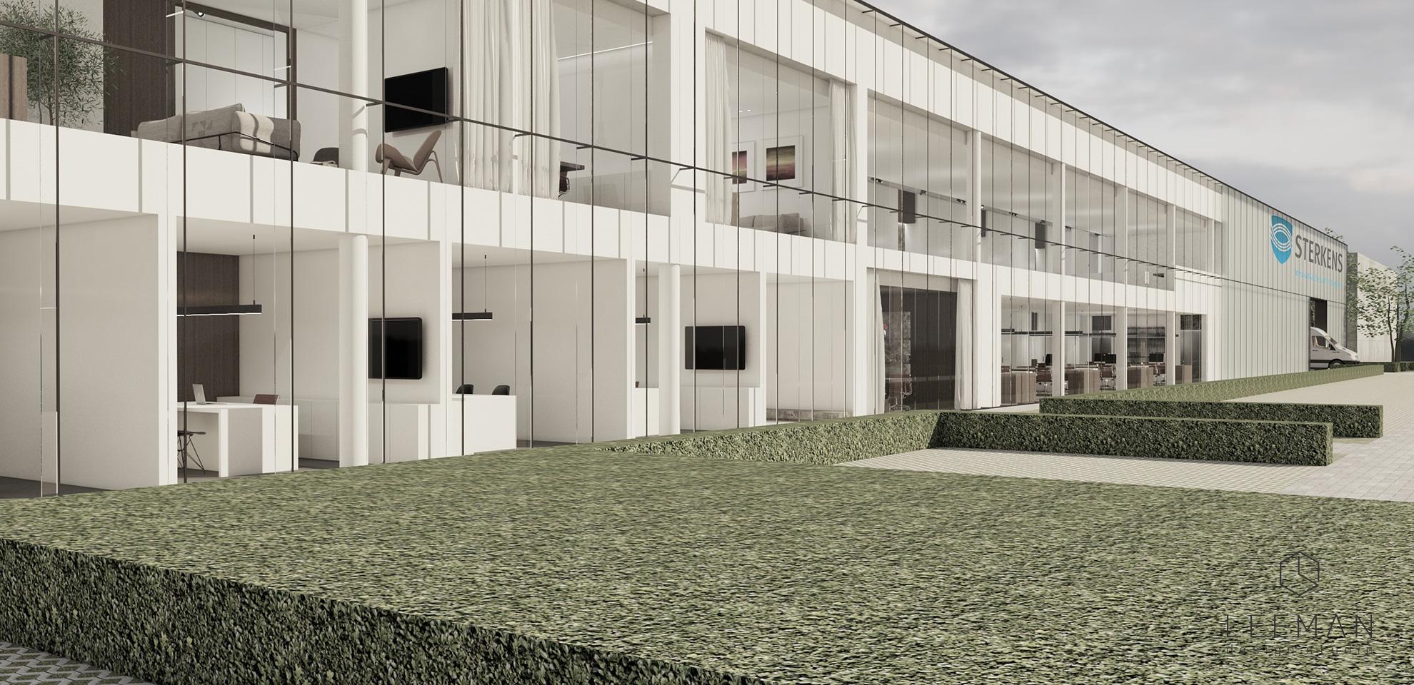 sterkens kantoor ontwerp exterieur van het gebouw. architectuur en tuin ontwerp