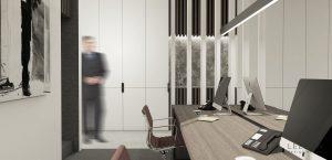 kantoor bureau meubel met stoelen en computers