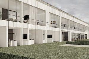 architectuur voorkant van het kantoorgebouw