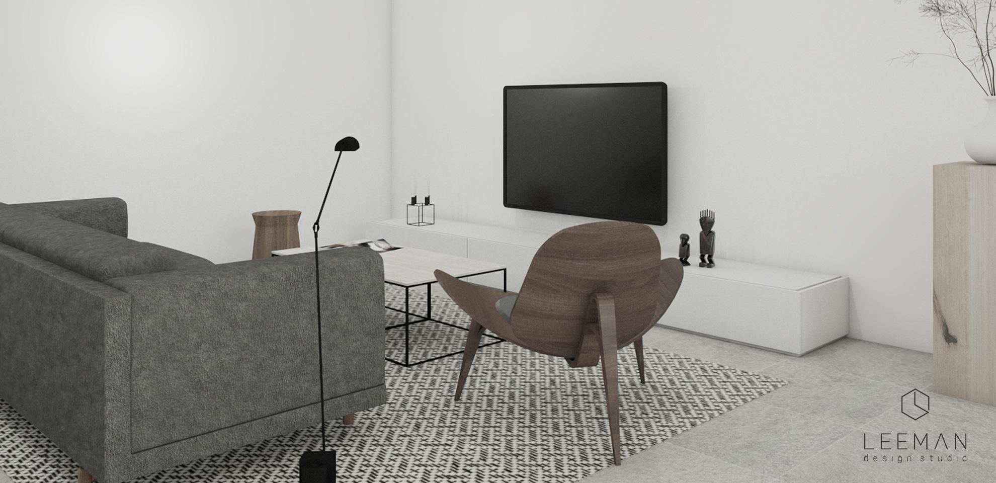 3d interieur ontwerp van de woonkamer met maatwerk meubelen