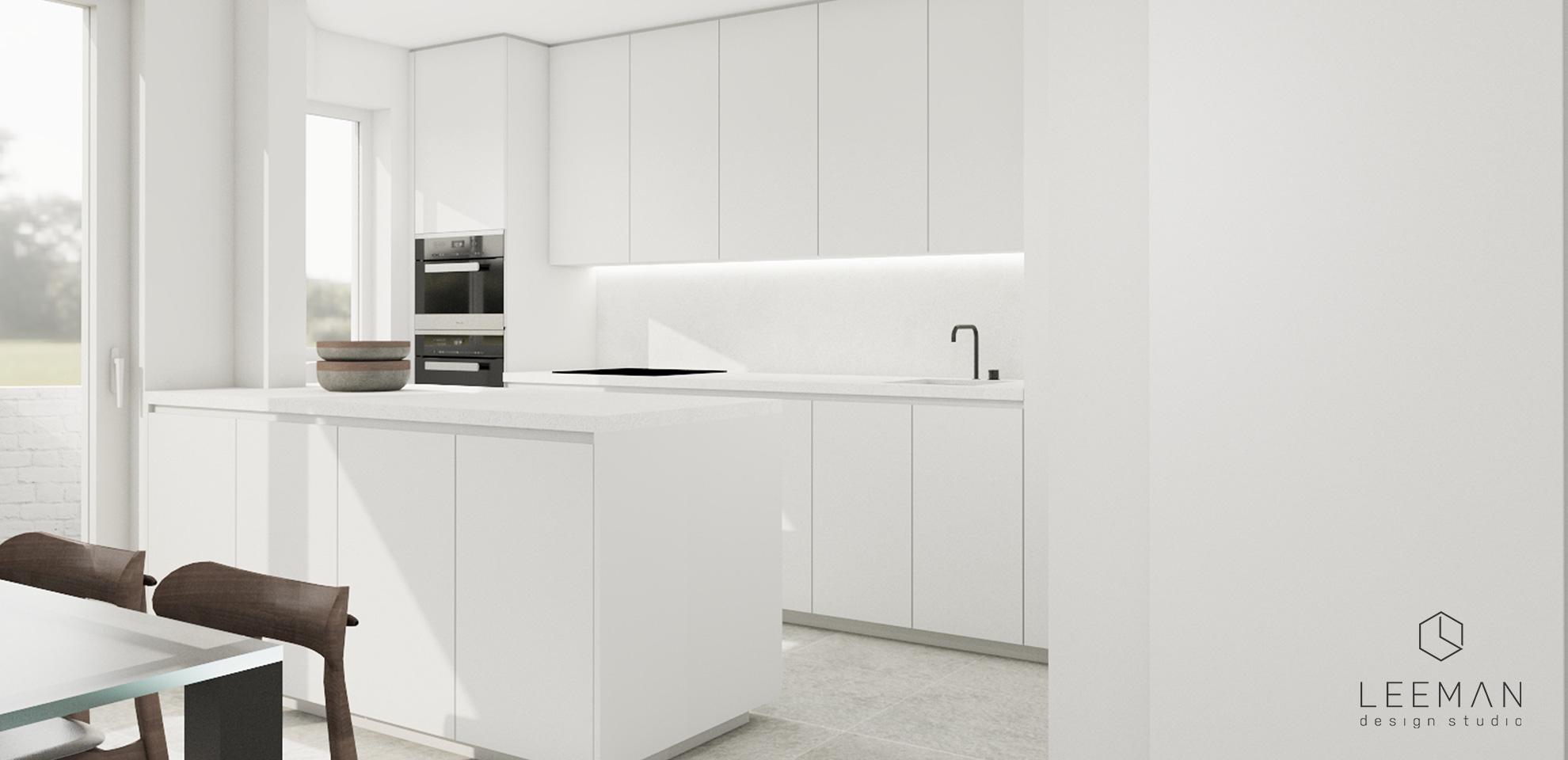 3d wit keukeneiland interieur keuken ontwerp en witte maatkasten