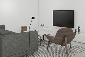 3D ontwerp van een huiskamer